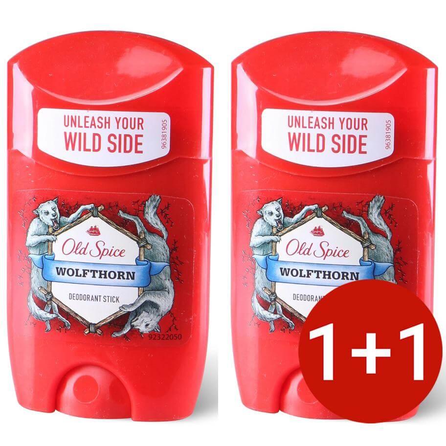 Old Spice Deo Stick Wolfthorn Αποσμητικό με Χαρακτηριστικό Αρρενωπό Άρωμα για Άνδρες 50ml Προσφορά 1+1 Δώρο