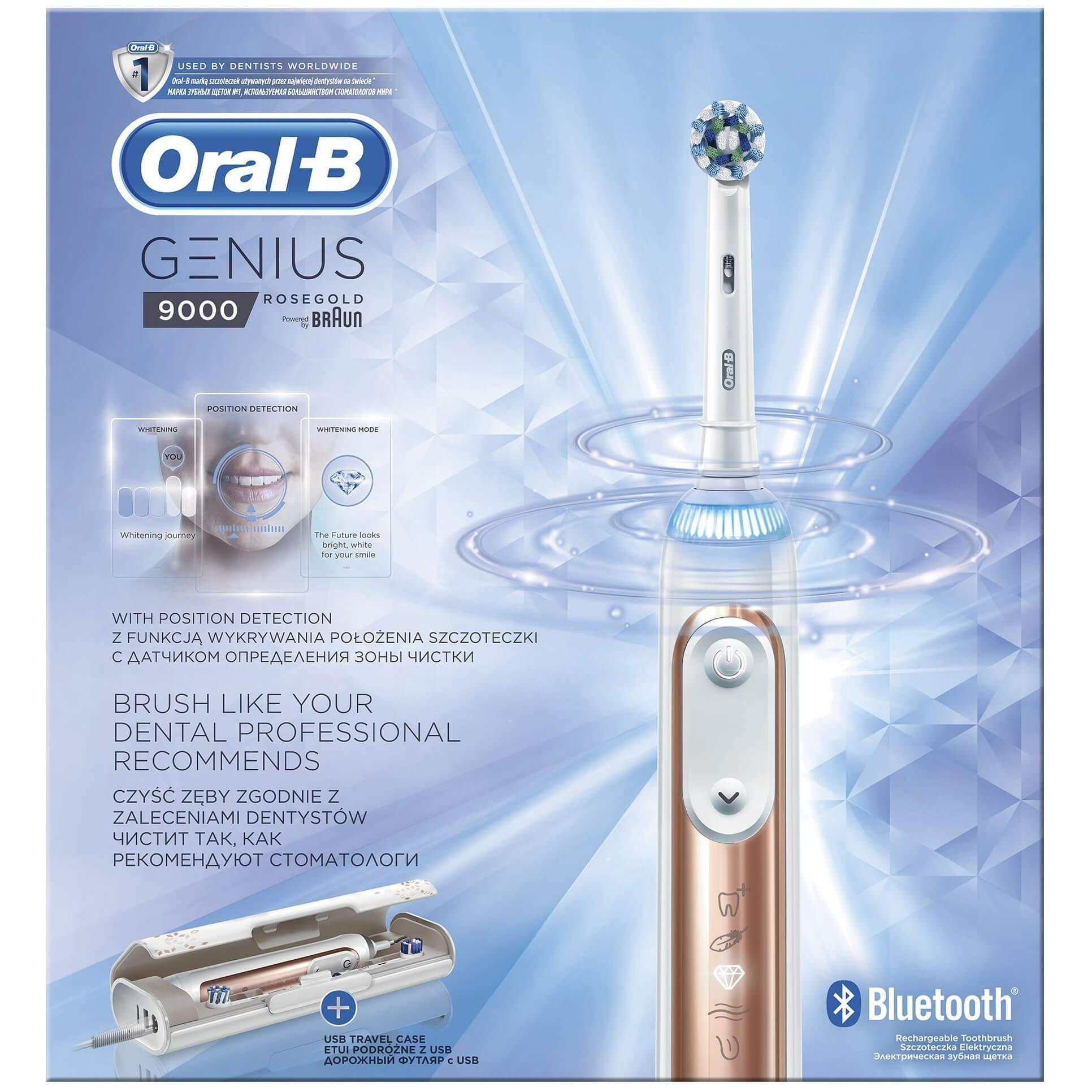 Oral-B Genius 9000 Rose Gold Ηλεκτρική Οδοντόβουρτσα με τη Μοναδική Τεχνολογία Εντοπισμού Θέσης Βουρτσίσματος 1 Τεμάχιο
