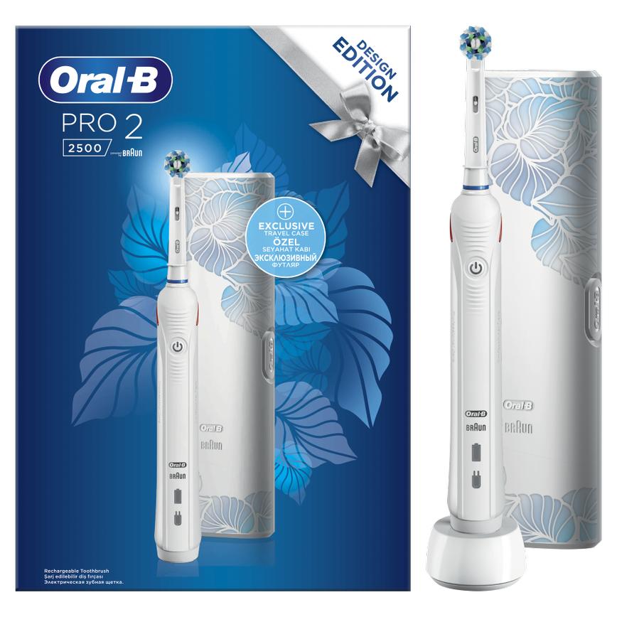 Oral-B Pro 2 2500 Design Edition White Ηλεκτρική Οδοντόβουρτσα για Βαθύ Καθαρισμό & Αισθητήρα Πίεσης Ούλων & Δώρο Θήκη Ταξιδίου