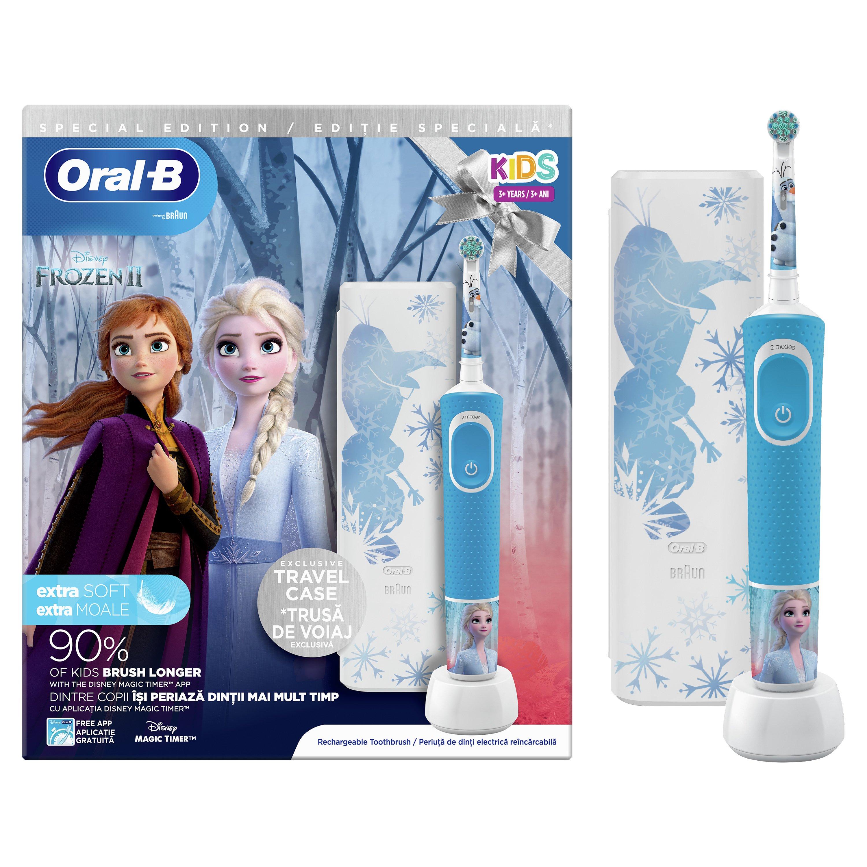 Oral-B Kids Frozen 3+ Years Extra Soft, Παιδική Ηλεκτρική Οδοντόβουρτσα για πολύ Απαλό Καθαρισμό & Δώρο Exclusive Travel Case