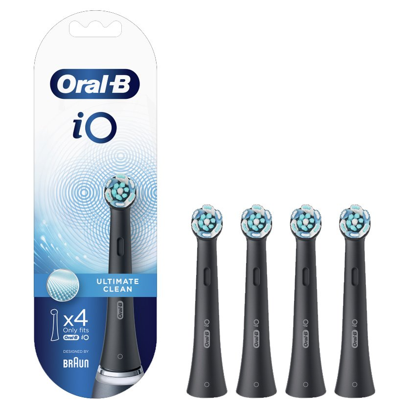 Oral-B iO Ultimate Clean Black Ανταλλακτικές Κεφαλές Βουρτσίσματος σε Μαύρο Χρώμα, για Επαγγελματικό Καθαρισμό 4 Τεμάχια