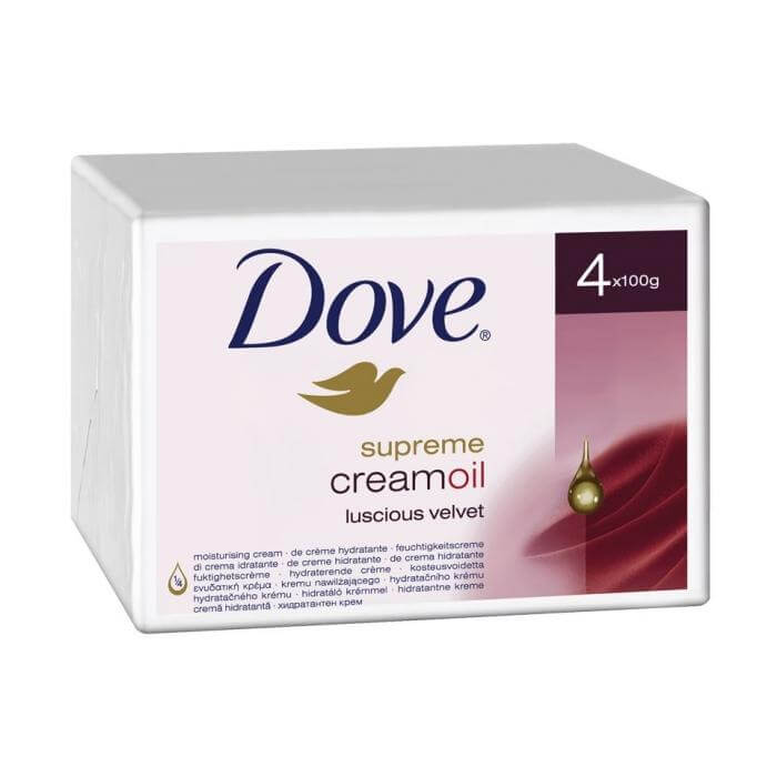 Dove Beauty Bar Supreme Cream Oil Fine Silk Soap Για Μεταξένια Επιδερμίδα 4x100gr
