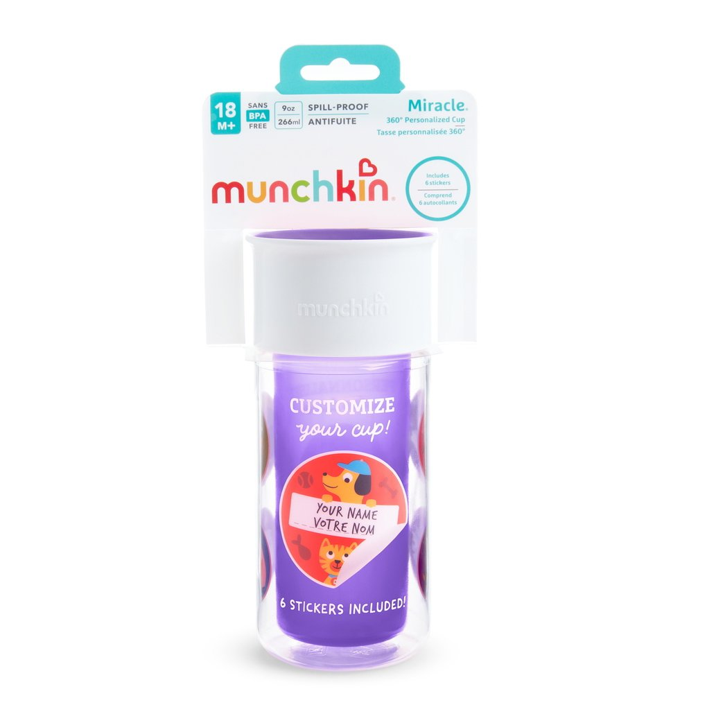 Munchkin Miracle 360 Insulated Sticker Cup Κύπελλο Θερμός Μωβ 266ml