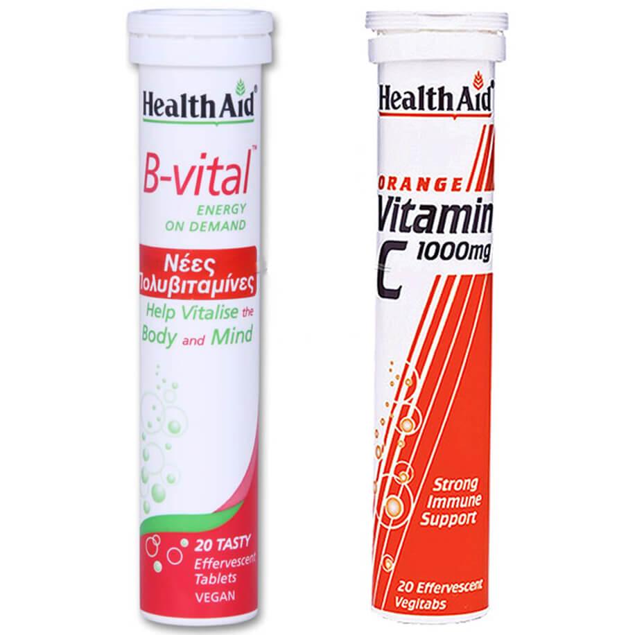 Health Aid Πακέτο Προσφοράς B-Vital Σύμπλεγμα Βιταμινών Β, C & Μετάλλων & Vitamin C 1000mg Πορτοκάλι 1+1 Δώρο 2x20effer.tabs