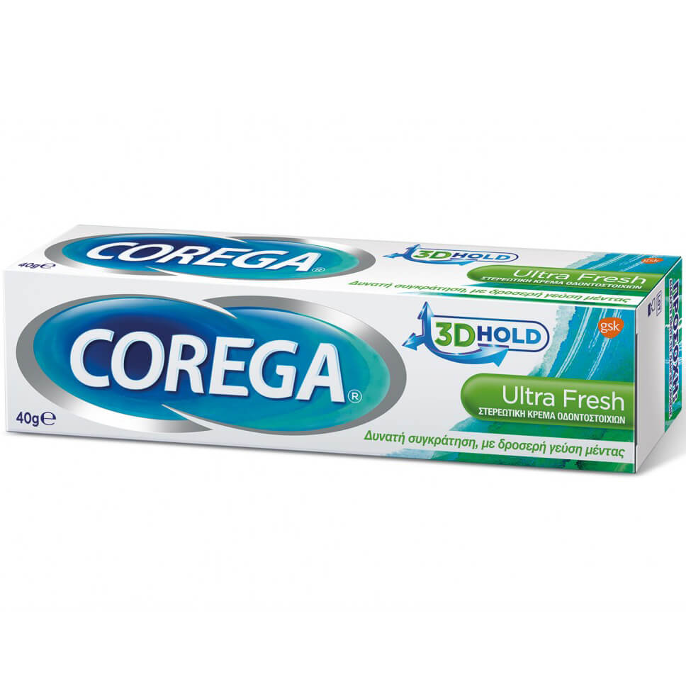 Corega 3D Hold Ultra Fresh Στερεωτική Κρέμα Οδοντοστοιχιών Προσφέρει Δυνατή Συγκράτηση, με Δροσερή Γεύση Μέντας 40gr