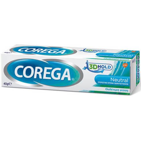 Corega 3D Hold Neutral Στερεωτική Κρέμα Οδοντοστοιχιών Συγκρατεί την Τεχνητή Οδοντοστοιχία με Ουδέτερη Γεύση 40gr