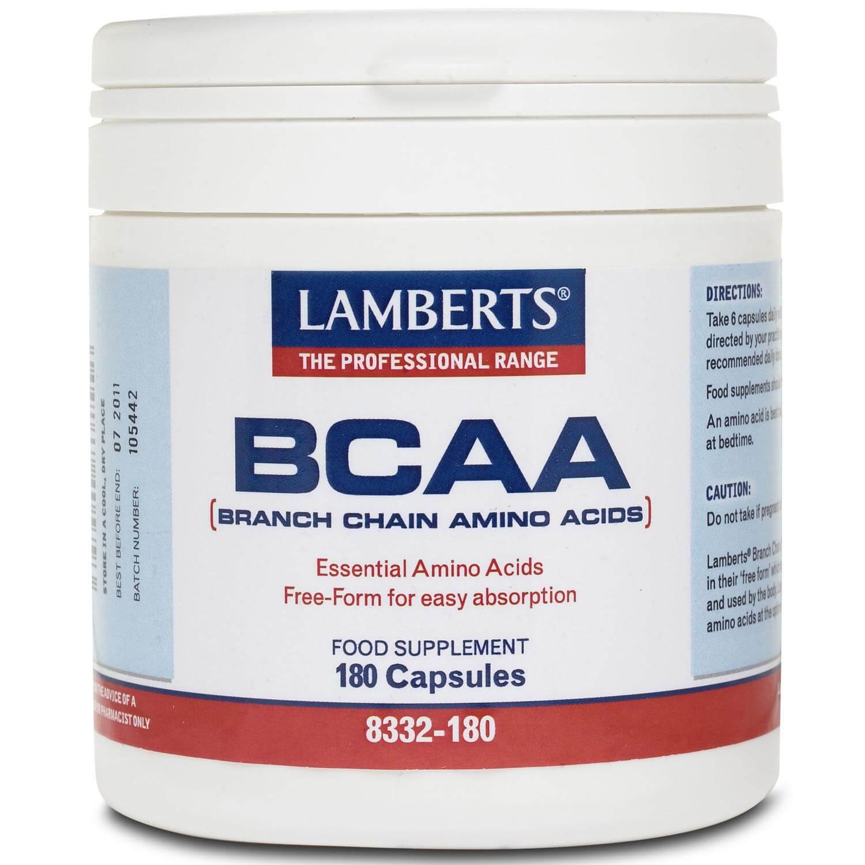 Lamberts BCAA (Branch Chain Amino Acids) Συμπλήρωμα Διατροφής που Συντελεί στη Δομική Σύσταση των Πρωτεϊνών του Σώματος 180 caps