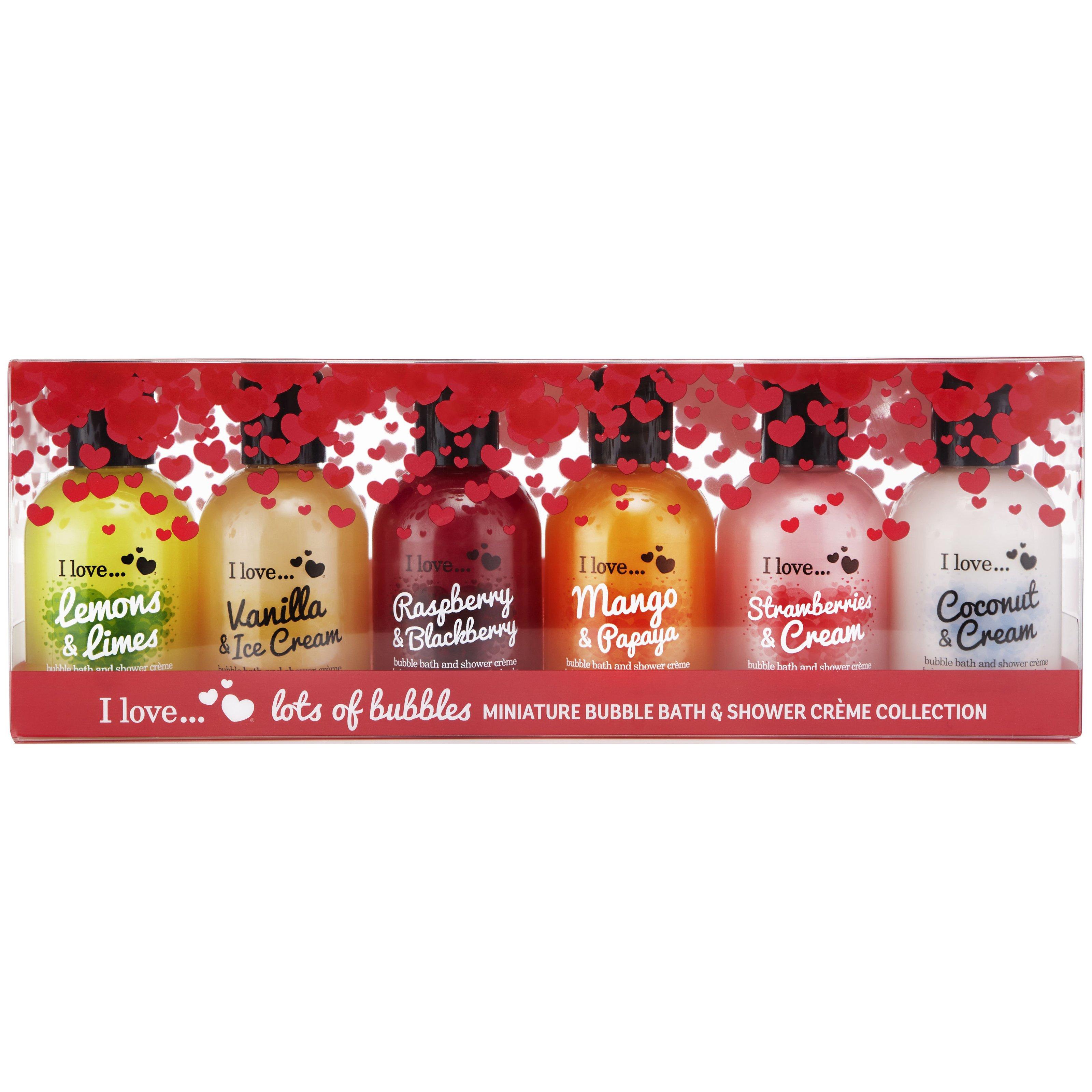 I love…Bath & Shower Coconut-Cream,Strawberries-Cream,Mango-Papaya,Raspberry-Blackberry,Vanilla-Ice Cream,Lemons-Limes 6x100ml