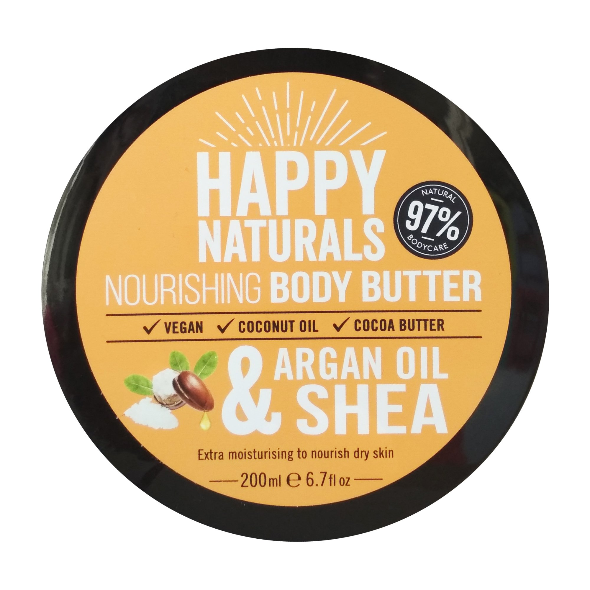 Happy Naturals Argan Oil & Shea Nourishing Body Butter Ενυδατική Κρέμα Σώματος με Έλαιο Argan 200ml
