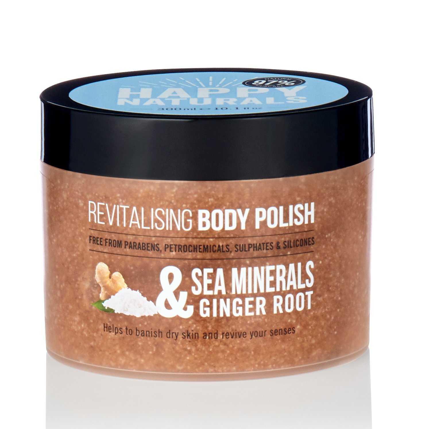 Happy Naturals Sea Mineras & Ginger Root Revitalising Body Polish Απαλή Απολέπιση Σώματος με Ginger 300ml