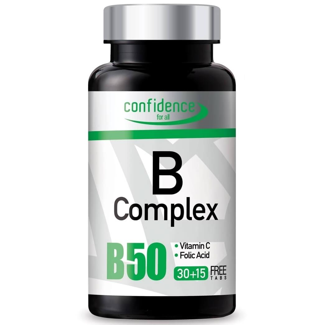 Confidence B Complex Συμπλήρωμα Διατροφής με όλες τις Βιταμίνες του Συμπλέγματος Β 45 tabs (30+15 free tabs)