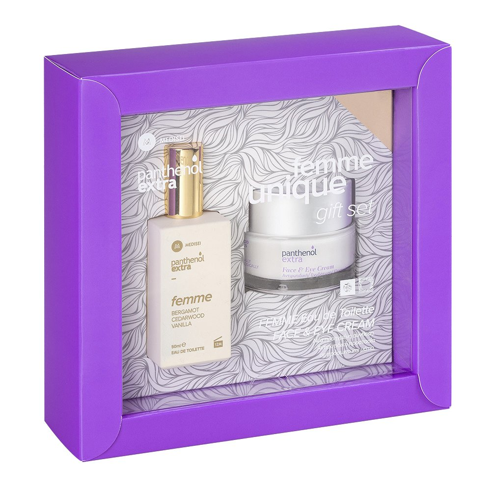 Medisei Gift Set Panthenol Extra Eau de Toilette Femme Bergamot, Cedarwood, Vanilla 50ml & Face & Eye Cream 50ml