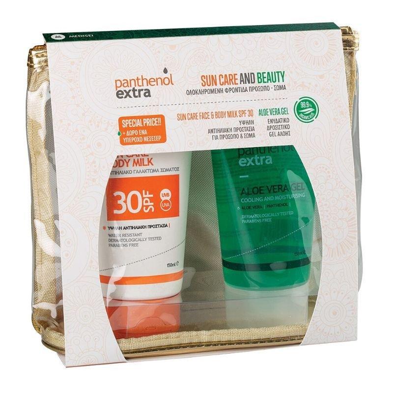 Medisei Promo Sun Care & Beauty Panthenol Extra Sun Care Face & Body Milk Spf30, 150ml & Aloe Vera Gel 150ml & Δώρο Νεσεσέρ