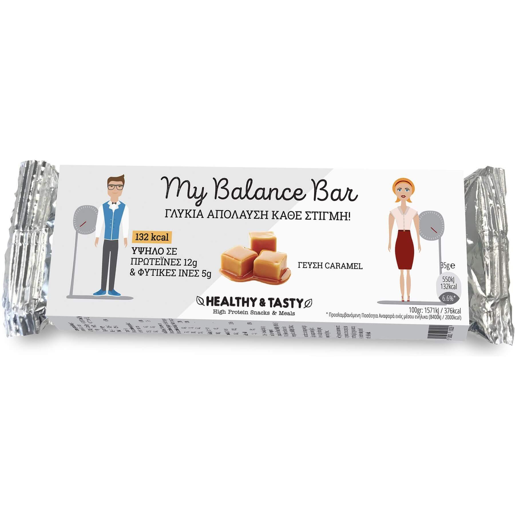 Power Health My Balance Bar Γλυκιά Απόλαυση Κάθε Στιγμή Πλούσια σε Πρωτεΐνες & Φυτικές Ίνες με Γεύση Caramel 35gr 20338