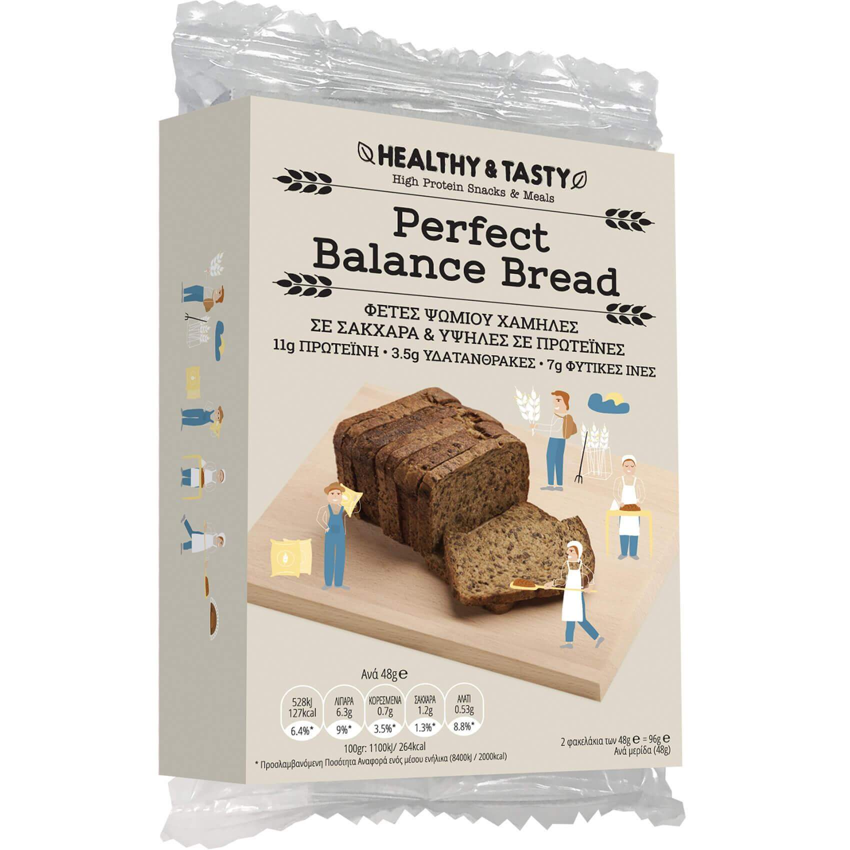 Power Health Perfect Balance Bread Φέτες Ψωμιού Χαμηλές σε Σάκχαρα & Υψηλές σε Πρωτεΐνες 2sachets x 48gr