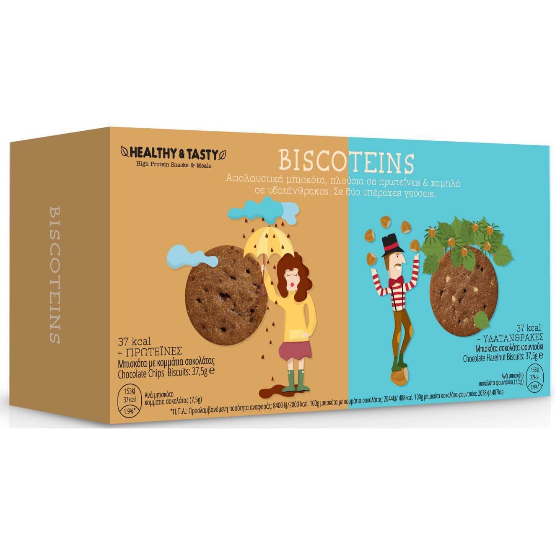 Power Health Biscoteins Μπισκότα Πλούσια σε Πρωτεΐνες, με Γεύση Κομμάτια Σοκολάτας & Σοκολάτα Φουντούκι 10 Τεμάχια 20334