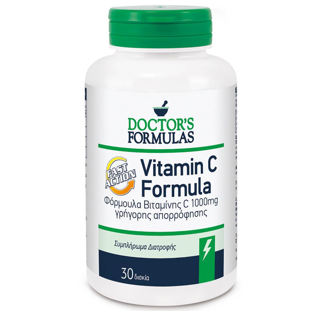 Doctors Formulas Vitamin C 1000mg Formula Fast Action Συμπλήρωμα Διατροφής Βιταμίνης C Γρήγορης Απορρόφησης 30 Δισκία