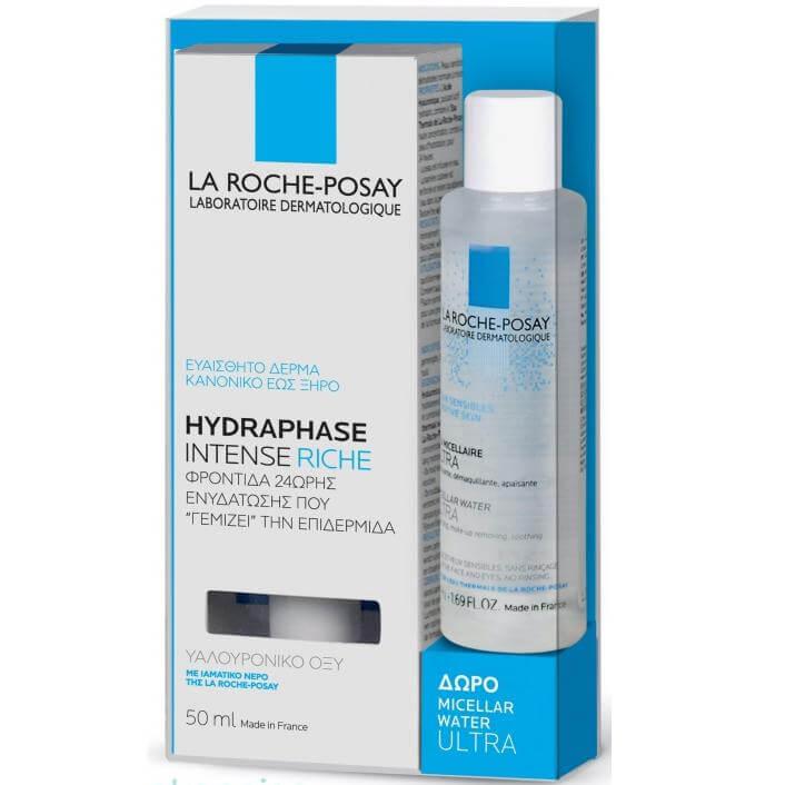 La Roche-Posay Hydraphase Intense Riche Κρέμα Φροντίδας Πλούσιας Υφής, Εντατικής Ενυδάτωσης 50ml &Δώρο Micellar Water Ultra 50ml