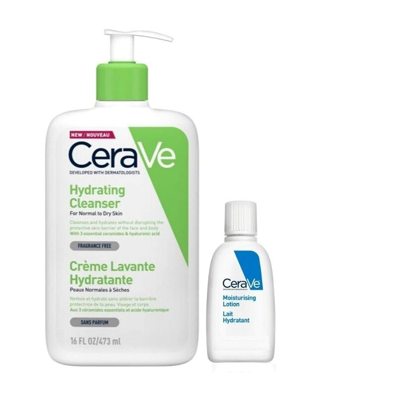 CeraVe Hydrating Cleanser για Κανονικό Έως Ξηρό Δέρμα 473ml + Δώρο Moisturising Lotion 5ml