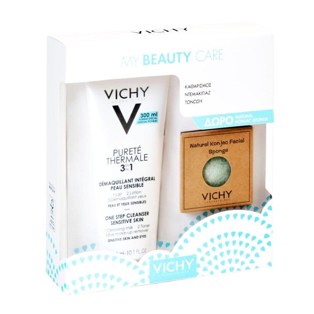 Vichy Promo My Beauty Care Purete Thermale 3in1 Γαλάκτωμα Καθαρισμού 300ml & Δώρο Φυσικό Σφουγγάρι Konjac 1τμχ