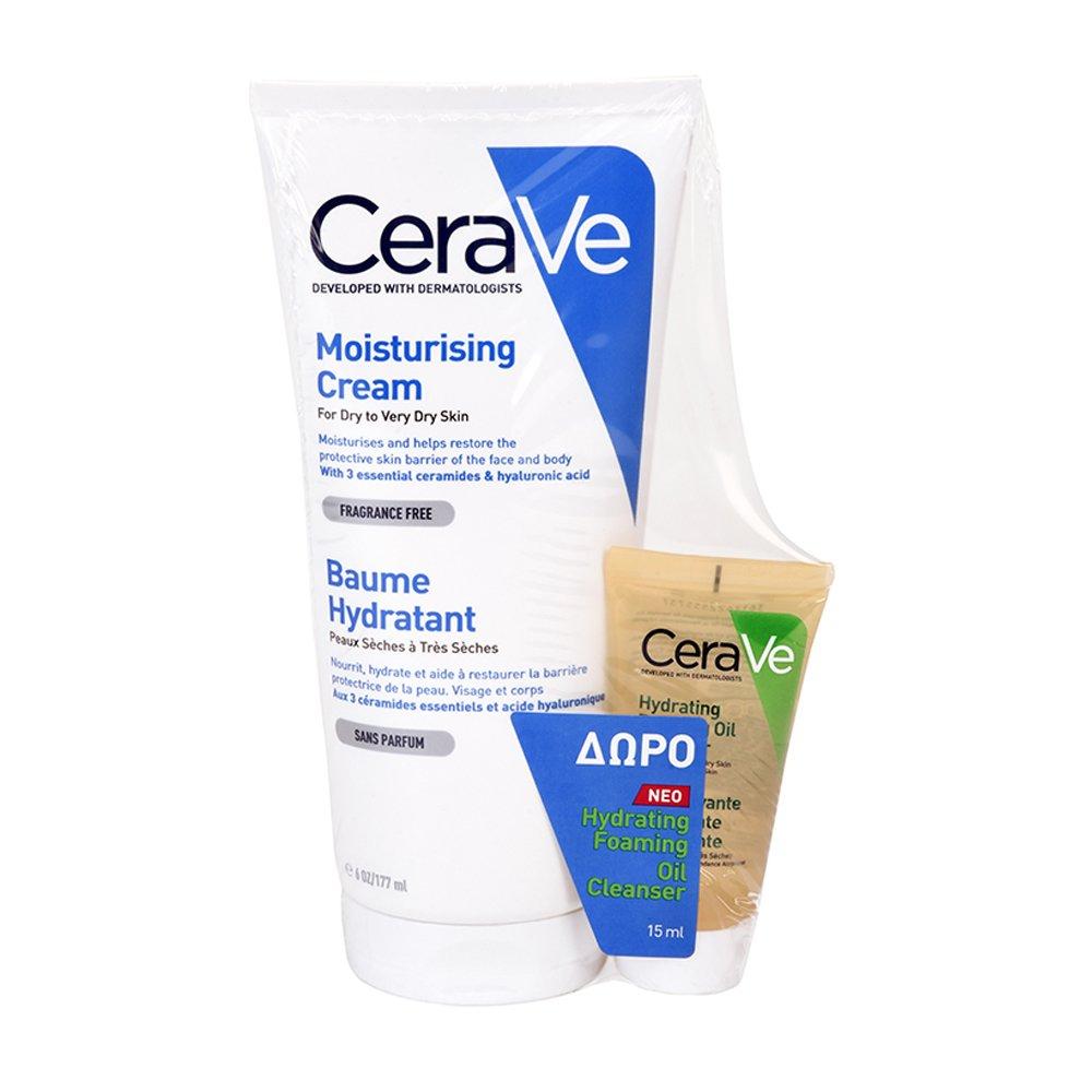CeraVe Πακέτο Προσφοράς Moisturising Cream Ενυδατική Κρέμα Προσώπου-Σώματος για Ξηρό Δέρμα 177ml & Δώρο Hydrating Cleanser 15ml