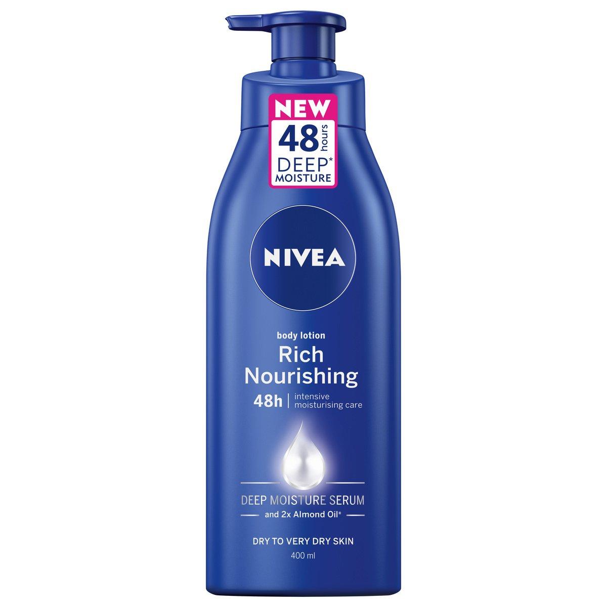 Nivea Body Nourishing Milk Pump Θρεπτικό Γαλάκτωμα Σώματος 48ωρης Βαθιάς Ενυδάτωσης & Απαλότητας με Αντλία 400ml