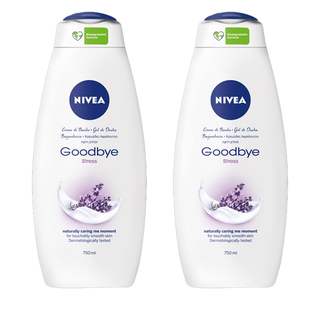 Nivea Πακέτο Προσφοράς Goodbye Stress Shower Cream Κρεμώδες Αφρόλουτρο με Άρωμα Λεβάντας & Φυσικό Μέλι 2x750ml 1+1 Δώρο