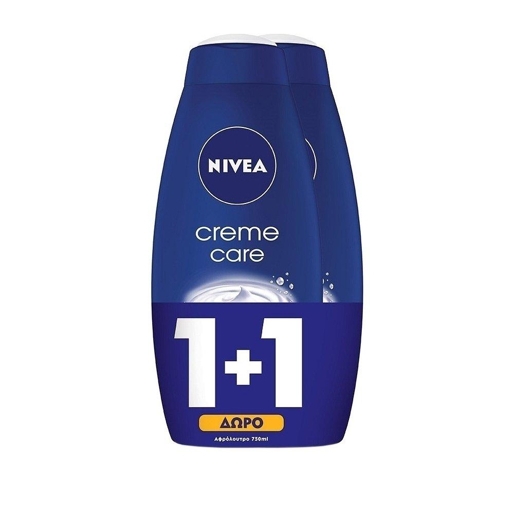 Nivea Bath Creme Care Κρεμώδες Ενυδατικό Αφρόλουτρο 2x750ml 1+1 Δώρο