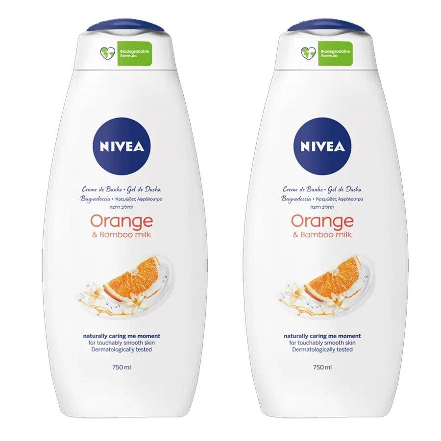 Nivea Πακέτο Προσφοράς Orange & Bamboo Milk Shower Cream με Γάλα Μπαμπού και Φρουτώδες Άρωμα Aνθών Πορτοκαλιού 2x750ml 1+1 Δώρο