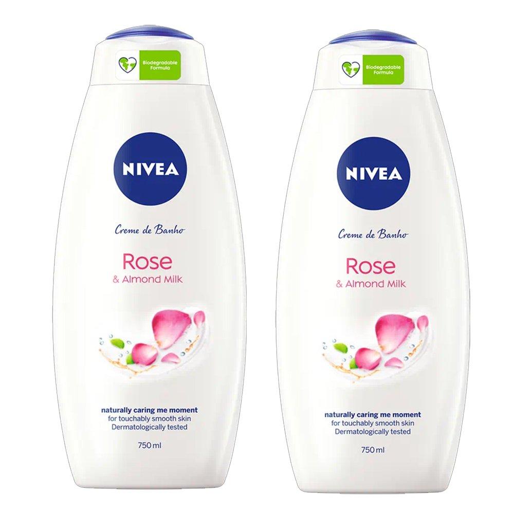 Nivea Πακέτο Προσφοράς Rose & Alomond Milk Κρεμώδες Αφρόλουτρο με Γάλα Αμυγδάλου & Άρωμα Τριαντάφυλλο 2x750ml 1+1 Δώρο