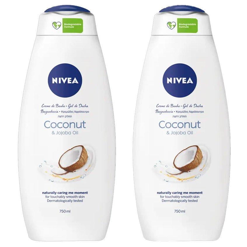Nivea Πακέτο Προσφοράς Coconut & Jojoba Oil Shower Cream Κρεμώδης Αφρόλουτρο με Λάδι Jojoba & Άρωμα Καρύδας 2x750ml 1+1 Δώρο