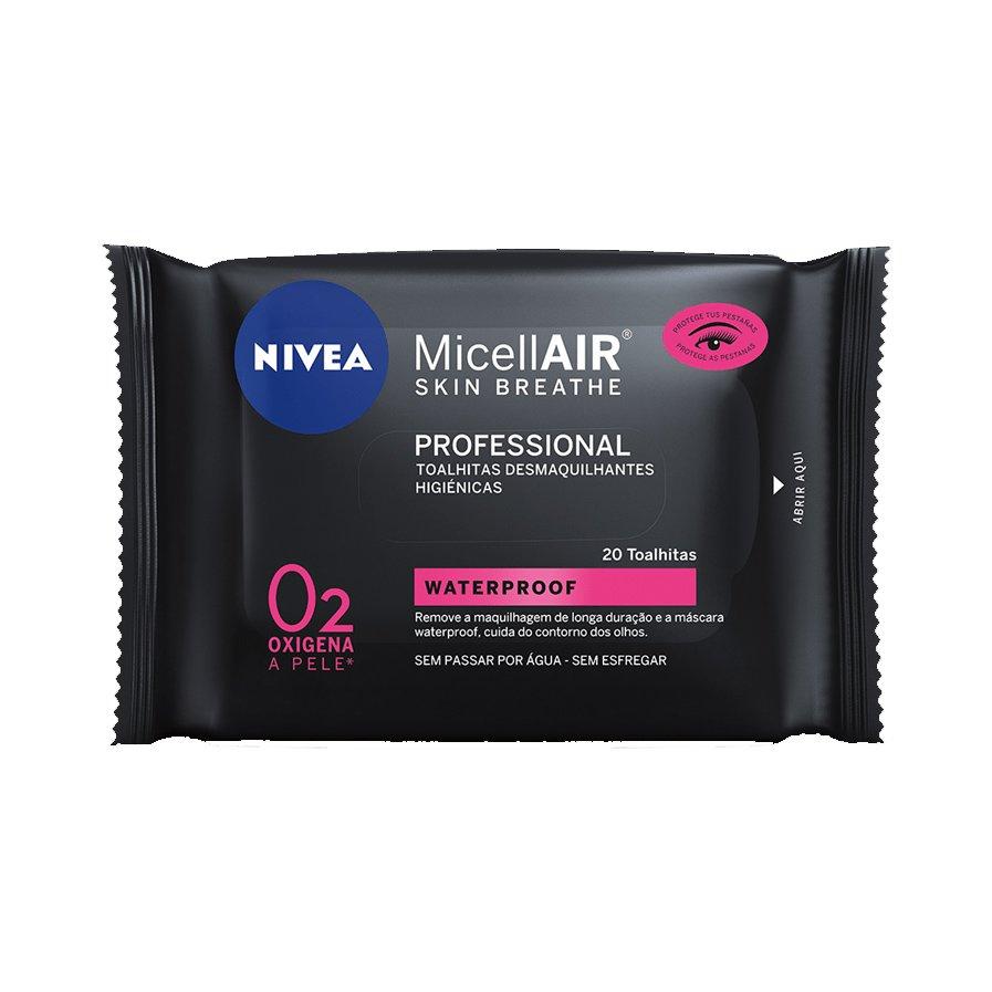 Nivea MicellAIR Professional Eye Make up Remover Μαντηλάκια Καθαρισμού για Απομάκρυνση Αδιάβροχου Μακιγιάζ και Μάσκαρας 20 wipes