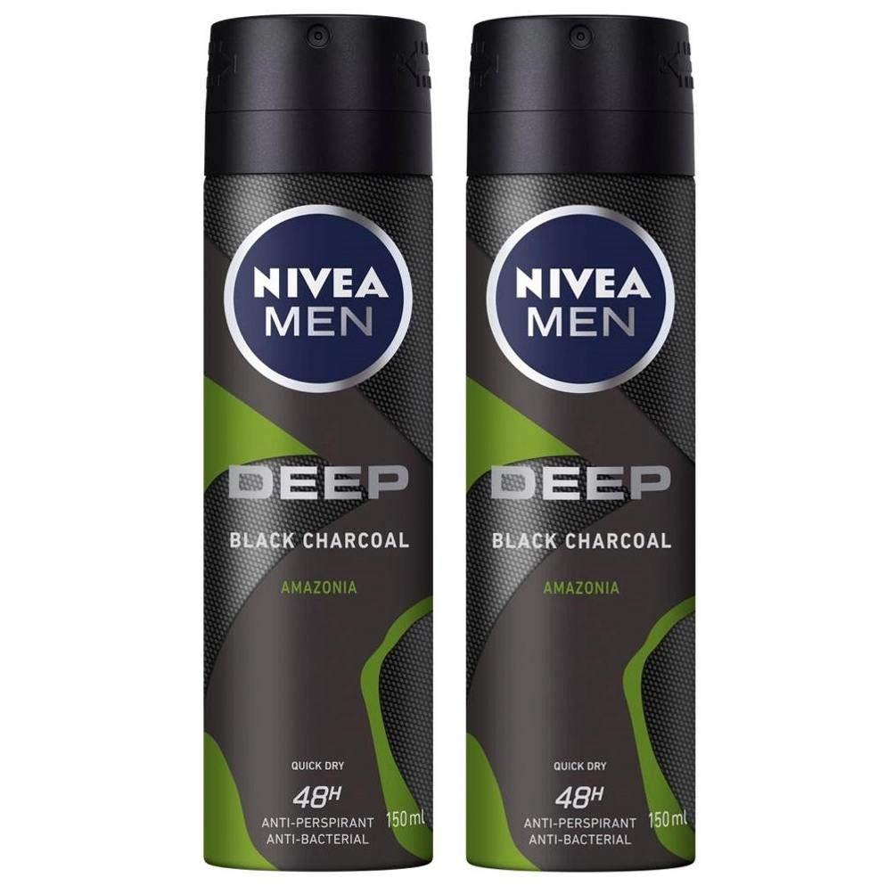 Nivea Men Πακέτο Προσφοράς Deep Black Carbon Amazonia Spray Ανδρικό Αποσμητικό 48ωρης Προστασίας 2x150ml 1+1 Δώρο