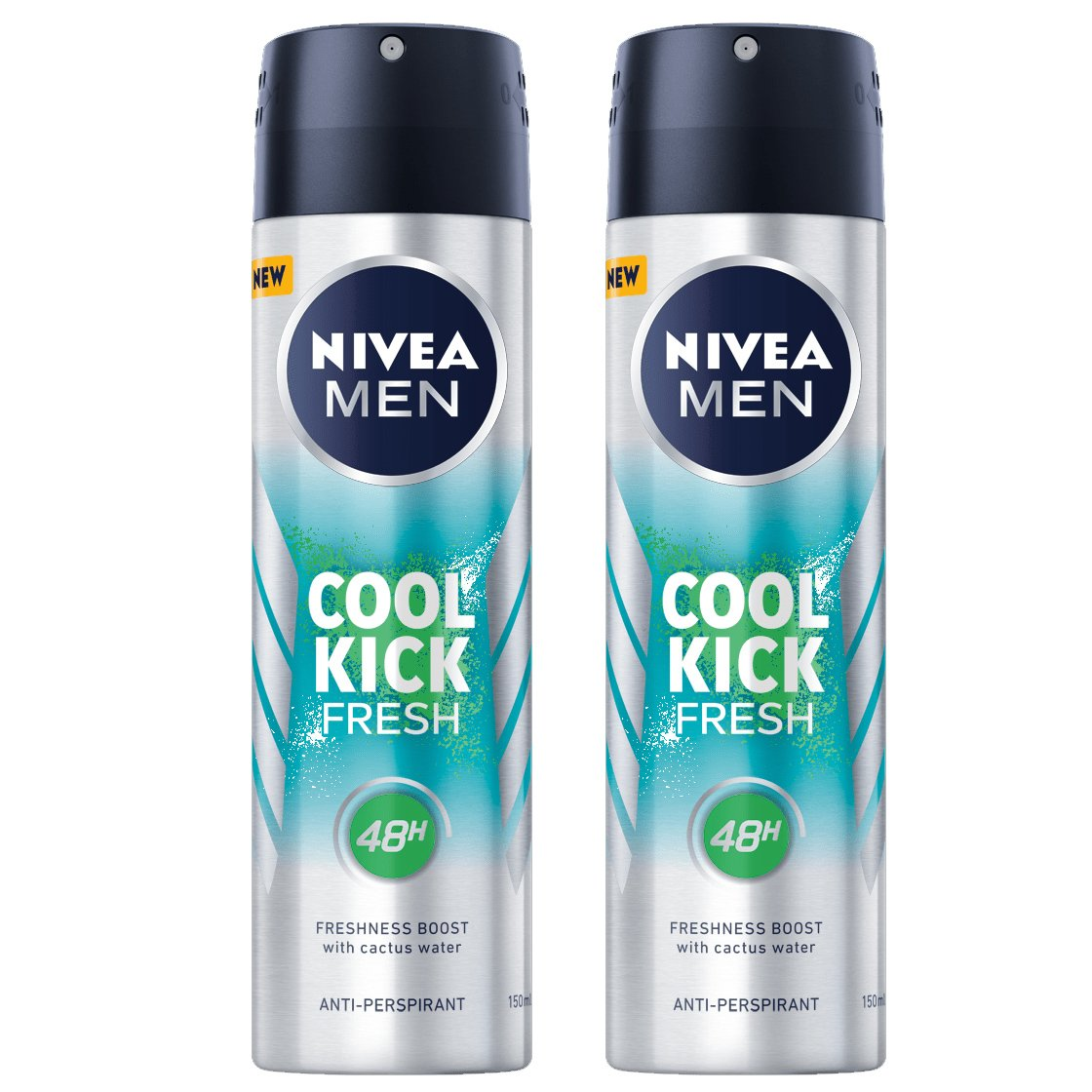 Nivea Men Πακέτο Προσφοράς Cool Kick Fresh Skin Active Deo Spray Αποσμητικό 48ωρης Προστασίας με Νερό Κάκτου 2x150ml 1+1 Δώρο