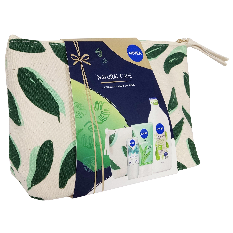 Nivea Πακέτο Προσφοράς Magnesium Dry 48h Roll on Deo 50ml & Purifying Wash Gel 150ml & Naturaly Good Aloe Body Lotion 350ml