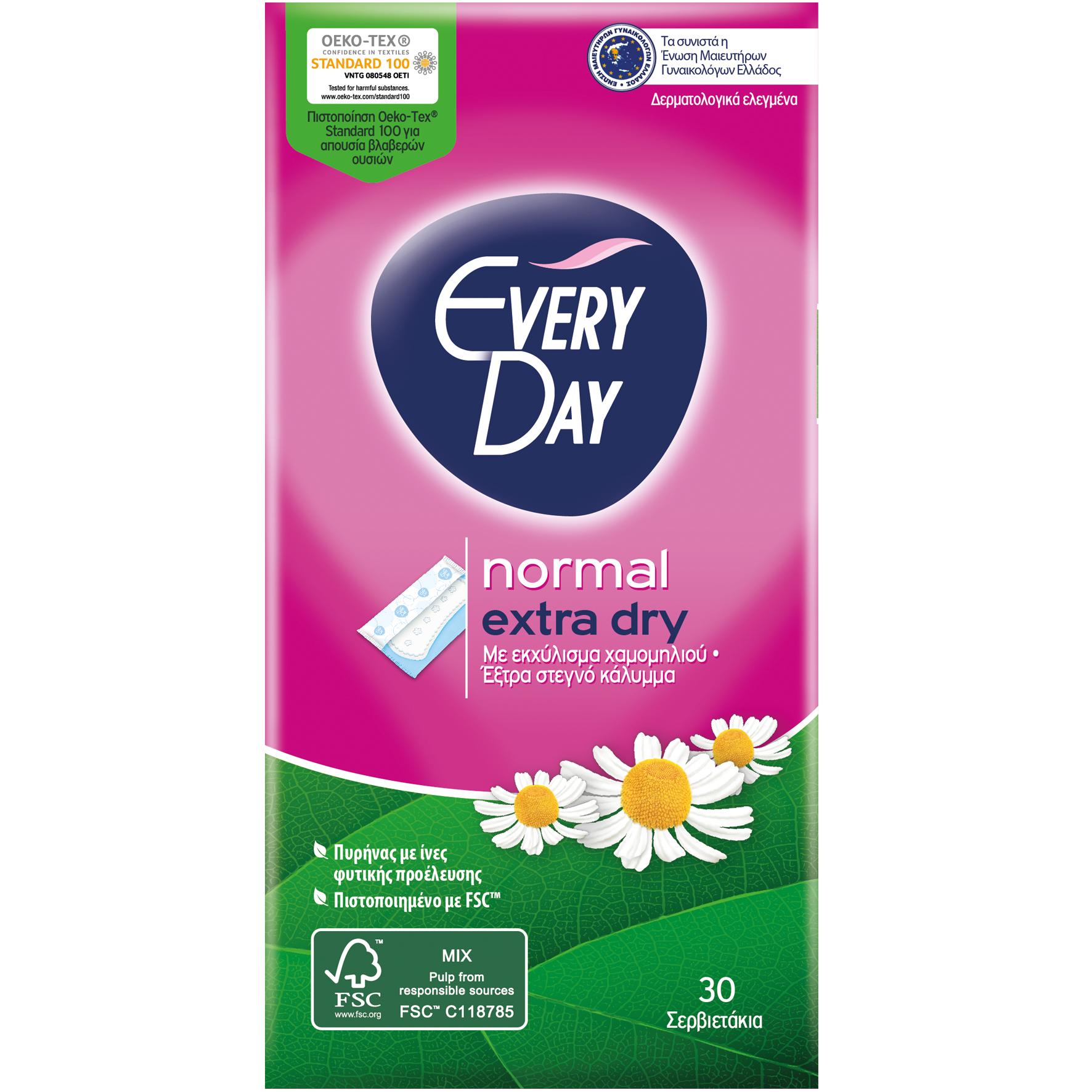 Every Day Extra Dry Normal Ανατομικά Σερβιετάκια με Έξτρα Στεγνό Κάλυμμα & Εκχύλισμα Χαμομηλιού 30 Τεμάχια