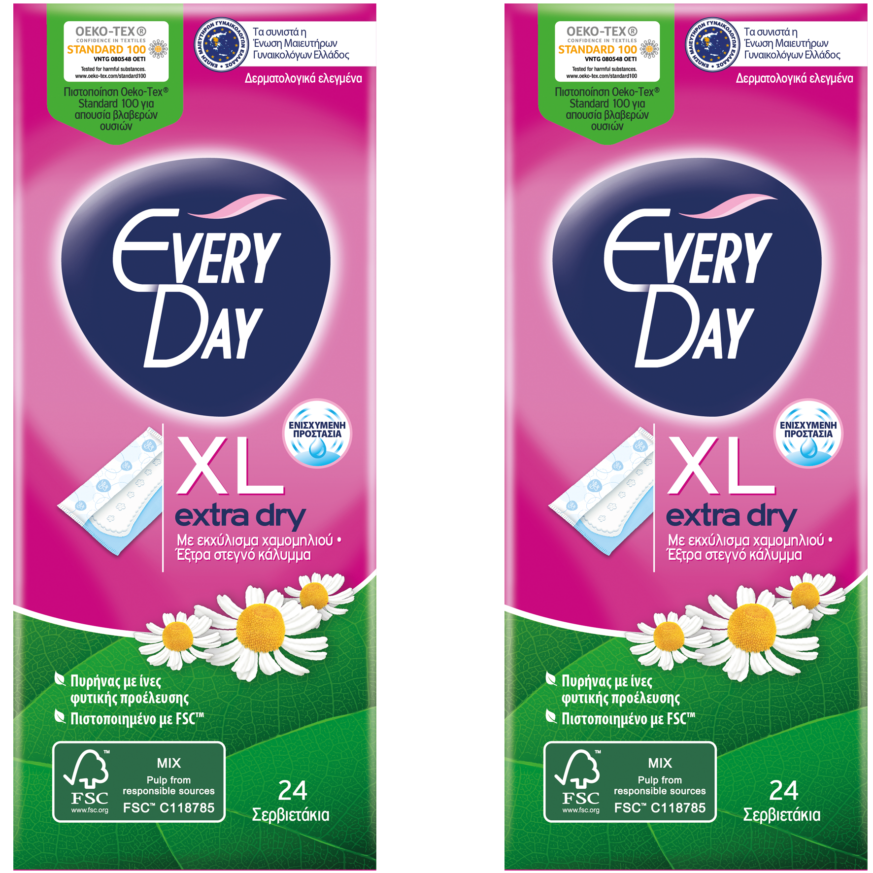 Every Day Πακέτο Προσφοράς Extra Dry XL Ανατομικά Σερβιετάκια για Πολύ Μεγάλη Ροή 2×24 Τεμάχια 1+1 Δώρο