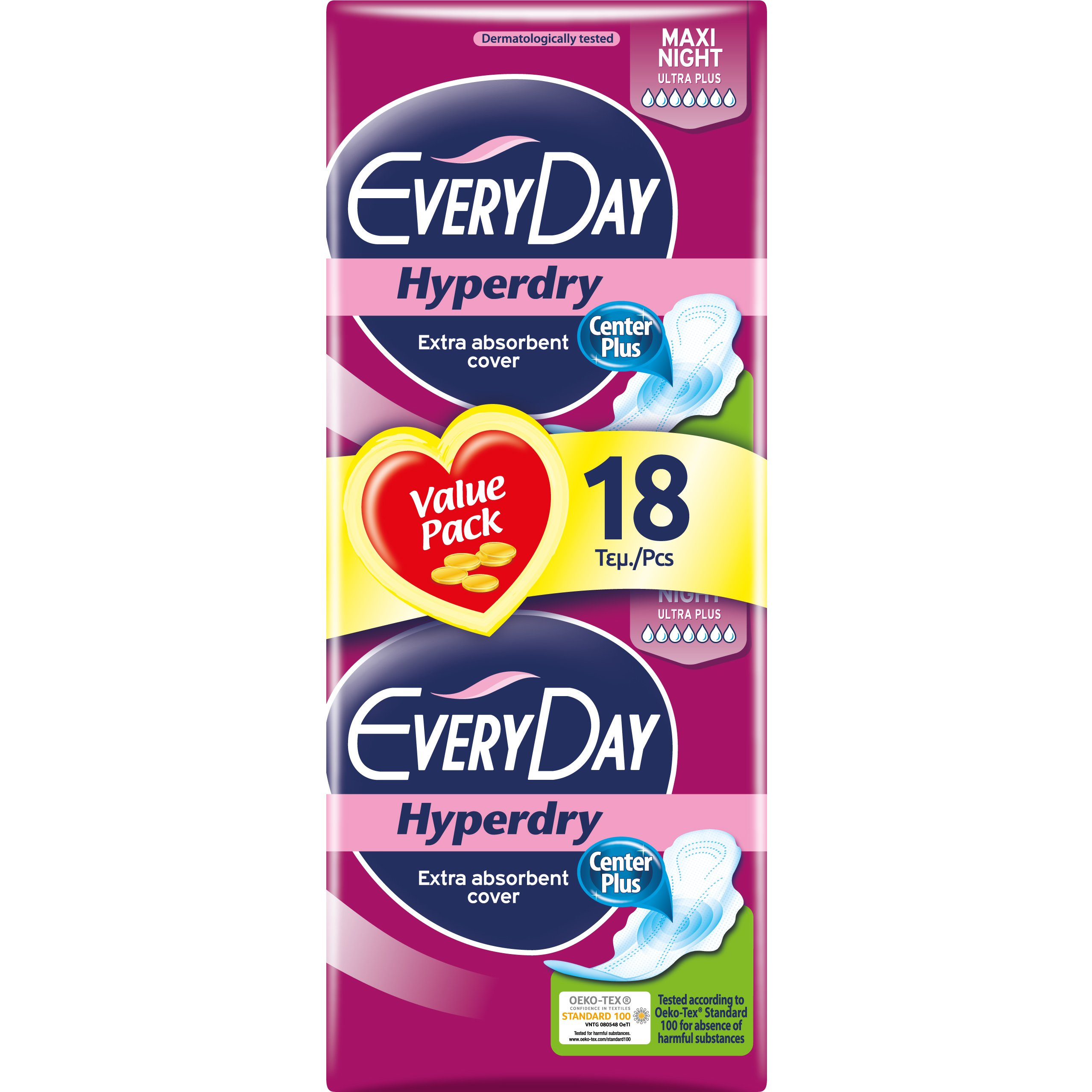 Every Day Hyperdry Maxi Night Value Pack Πολύ Λεπτές Σερβιέτες Έξτρα Απορροφητικές, Ιδανικές για τη Νύχτα 18 Τεμάχια