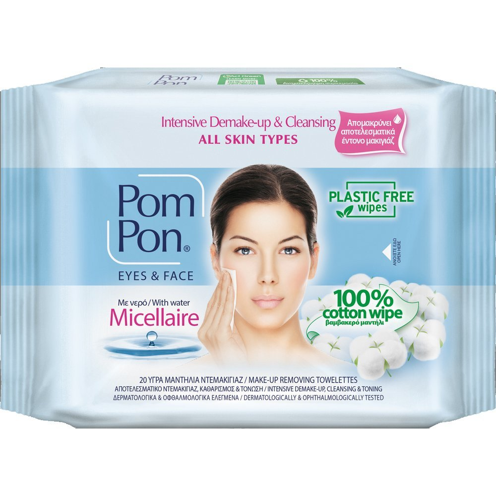 Pom Pon Face & Eyes 100% Cotton Wipes All Skin Types Υγρά Μαντήλια Ντεμακιγιάζ με Micellaire Water 20 Τεμάχια