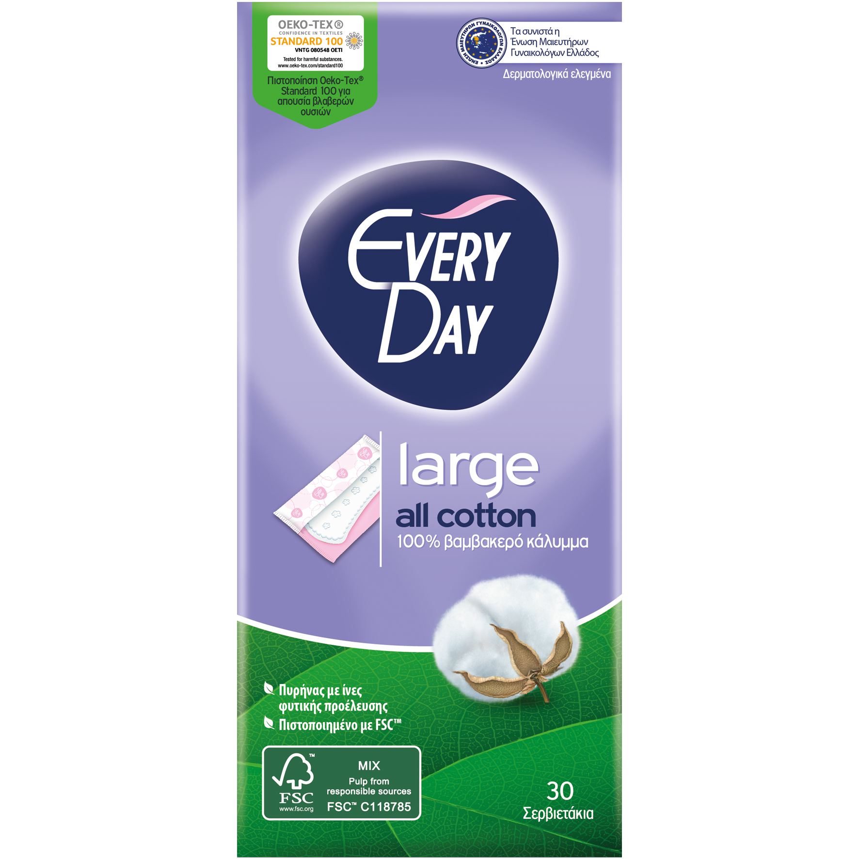 Every Day All Cotton Large Ανατομικά Σερβιετάκια με Βαμβακερό Κάλυμμα 30 Τεμάχια