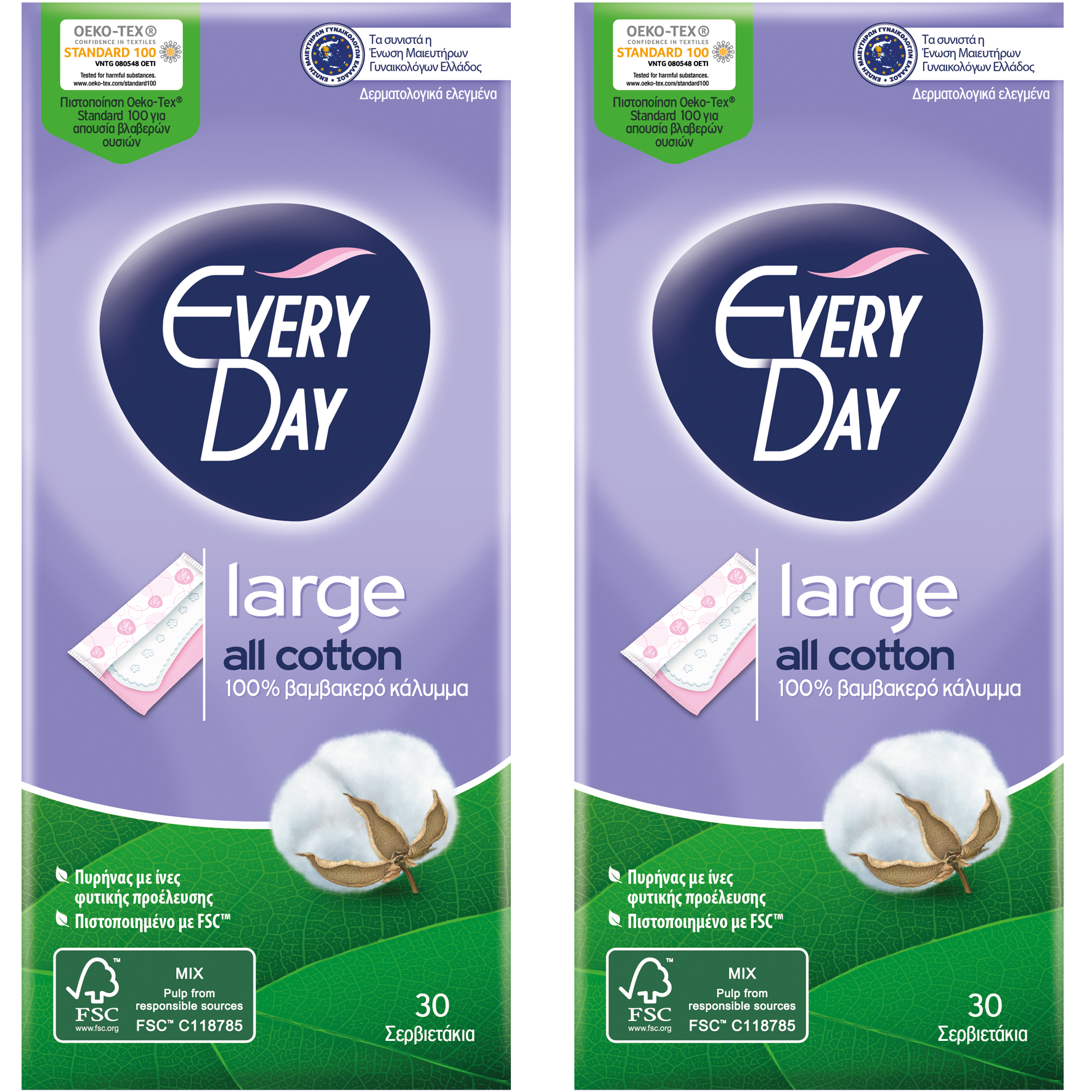Every Day Πακέτο Προσφοράς All Cotton Large Ανατομικά Σερβιετάκια με Βαμβακερό Κάλυμμα 2×30 Τεμάχια 1+1 Δώρο
