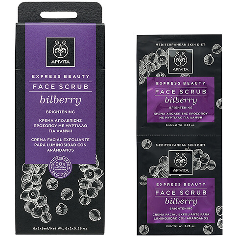 Apivita Express Beauty Face Scrub With Bilberry Κρέμα Απολέπισης για Λάμψη με Μύρτιλο Κατάλληλη για Όλους τους Τύπους 2x8ml