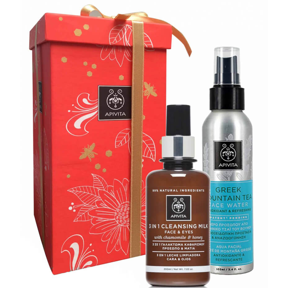 Apivita Gift Set Cleansing Milk 3 in 1 Face & Eyes With Chamomile & Honey 200ml & Greek Mountain Tea Face Water 100ml