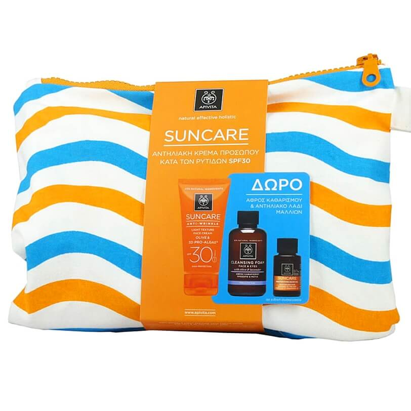 Apivita Πακέτο Suncare Anti-Wrinkle Light Texture Face Cream Spf30,50ml & Cleansing Foam 75ml & Hair Oil 20ml & Νεσεσέρ