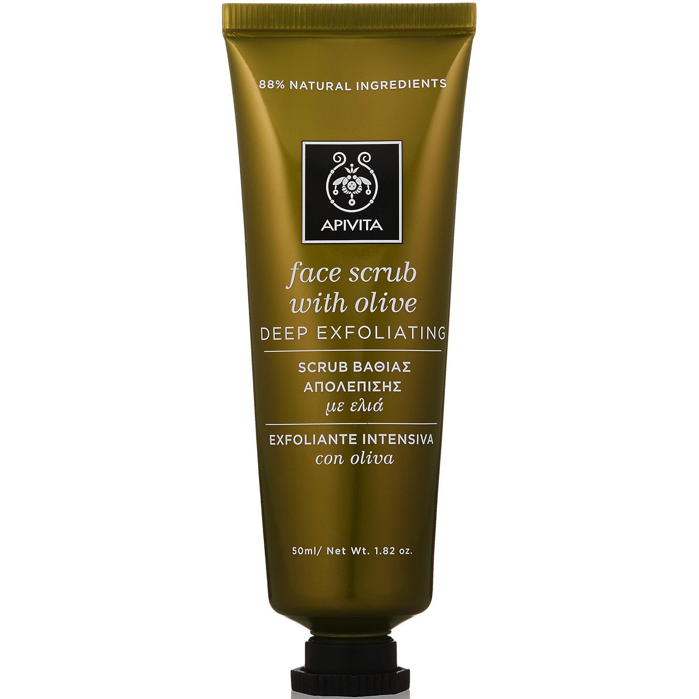 Apivita Face Scrub With Olive Scrub Βαθιάς Απολέπισης με Ελιά, Ιδανικό για Λιπαρές/Μικτές Επιδερμίδες, Άνδρες & Έφηβους 50ml