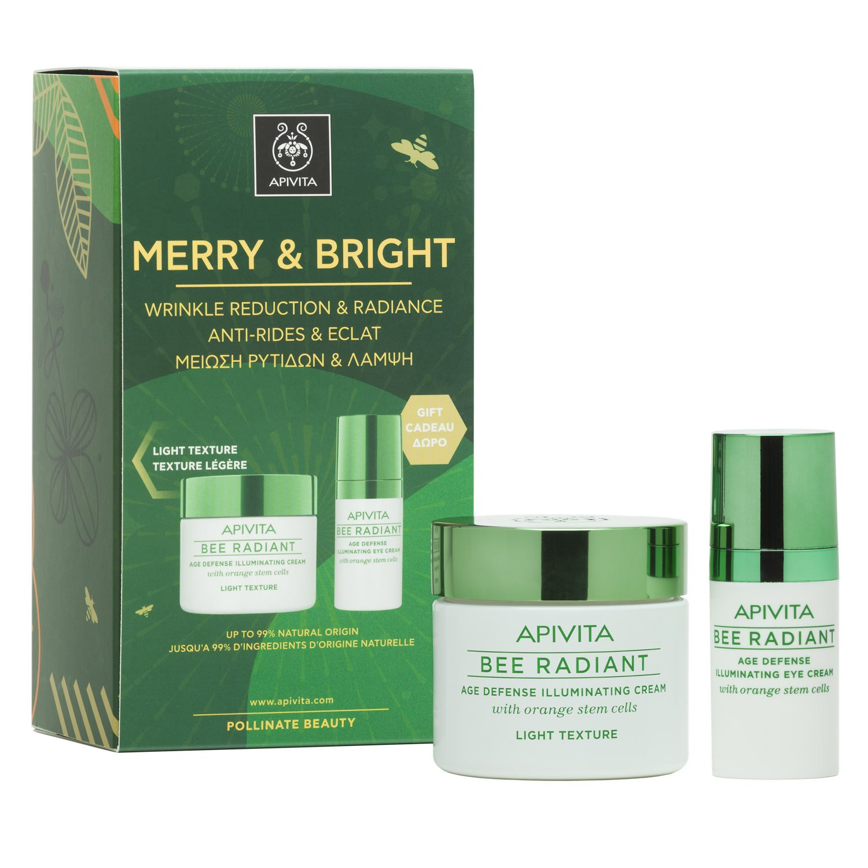 Apivita Πακέτο Προσφοράς Merry & Bright Bee Radiant Cream, Light Texture 50ml & Δώρο Bee Radiant Eye Cream 15ml