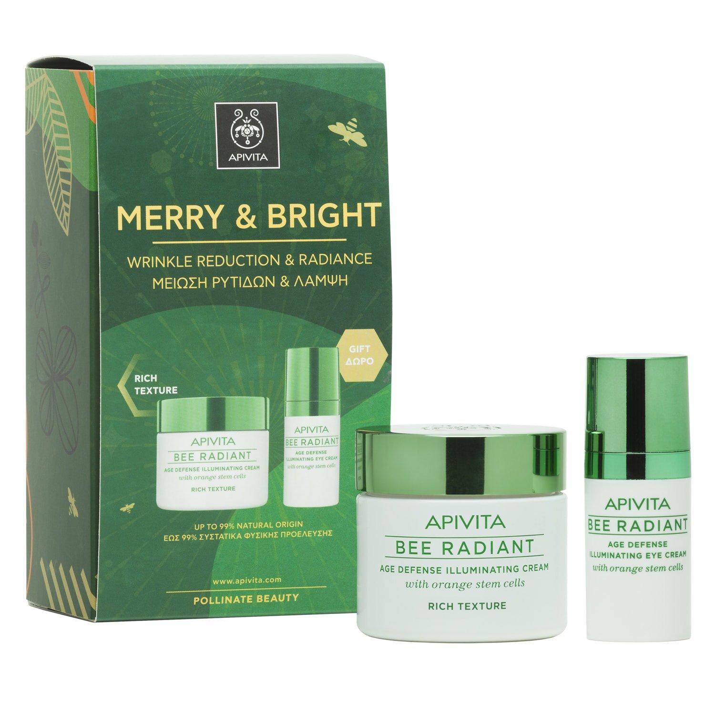 Apivita Πακέτο Προσφοράς Merry & Bright Bee Radiant Cream, Rich Texture 50ml & Δώρο Bee Radiant Eye Cream 15ml