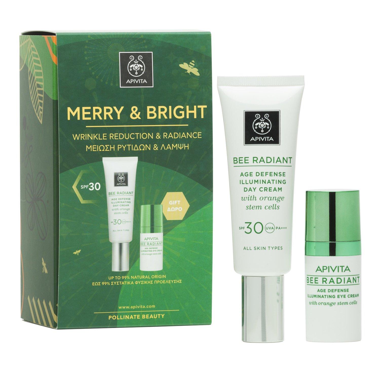 Apivita Πακέτο Προσφοράς Merry & Bright Bee Radiant Age Defence Illuminating Day Cream Spf30, 40ml & Bee Radiant Eye Cream 15ml