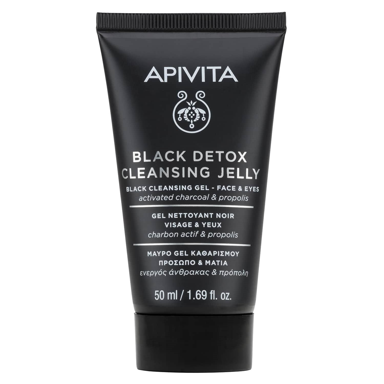 Apivita Mini Black Detox Cleansing Jelly Μαύρο Gel Καθαρισμού για Πρόσωπο & Μάτια με Ενεργό Άνθρακα & Πρόπολη 50ml