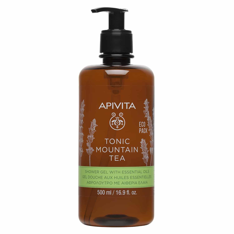 Apivita Tonic Mountain Tea Shower Gel With Essential Oils Eco Pack Αφρόλουτρο με Αιθέρια Έλαια για Τόνωση της Διάθεσης 500ml